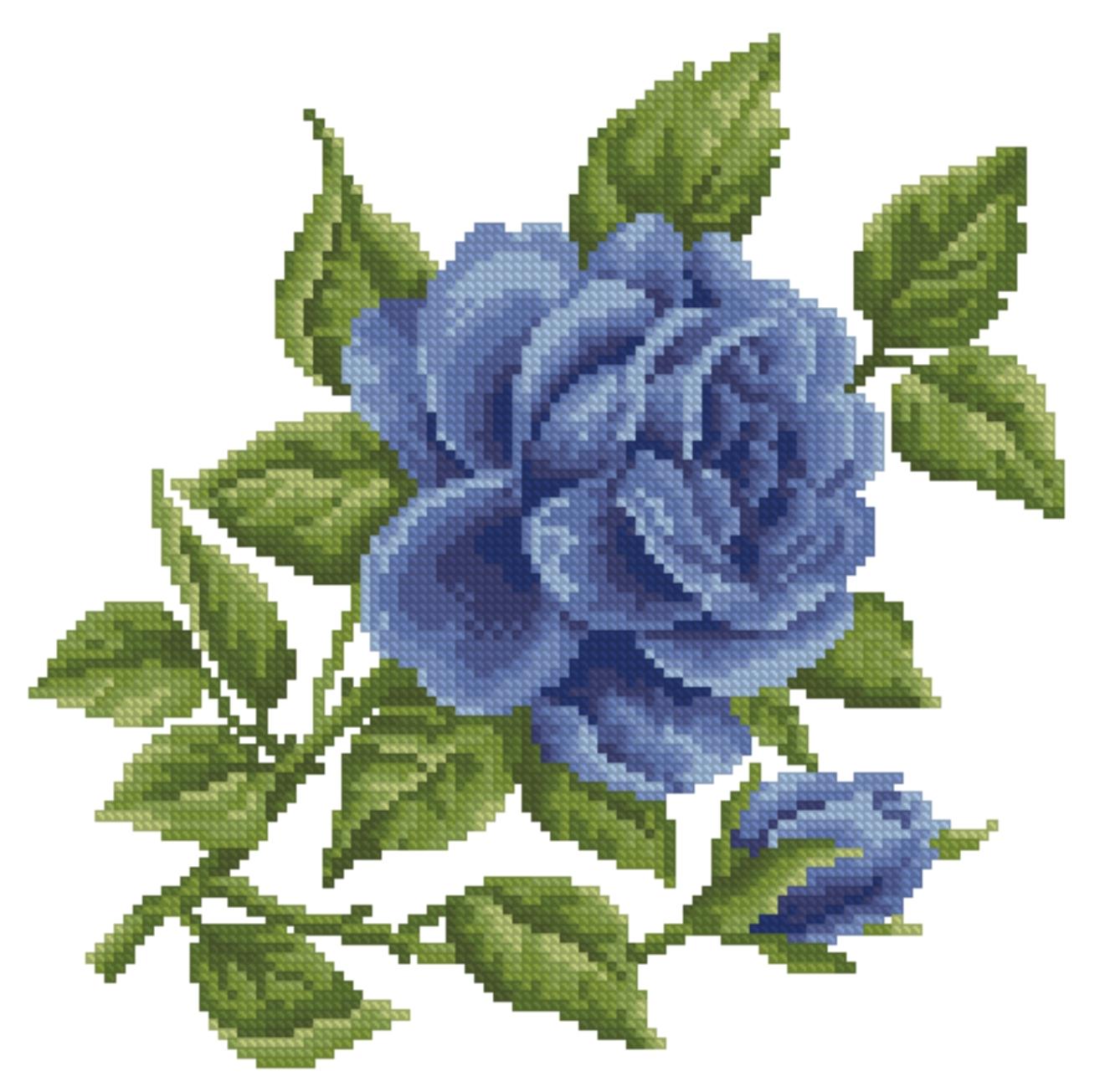 Вышивка крестом цветы синие 86