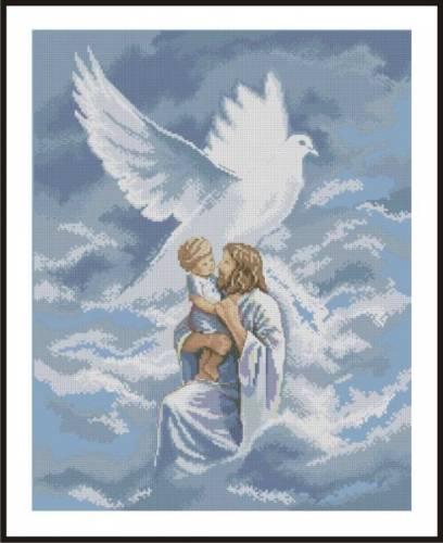 Схема вышивки крестом иисус и ангел